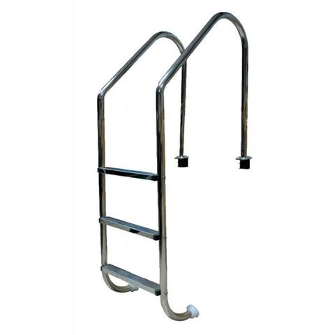 Лестница 2 ступ. с накладкой люкс, нерж. AISI-304 (широкий борт) POOLKING
