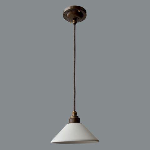 Подвесной светильник латунный c керамическим плафоном Old Bass Англия