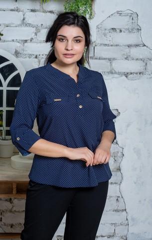 Вікторія. Жіноча блуза маленьких і великих розмірів. Синій