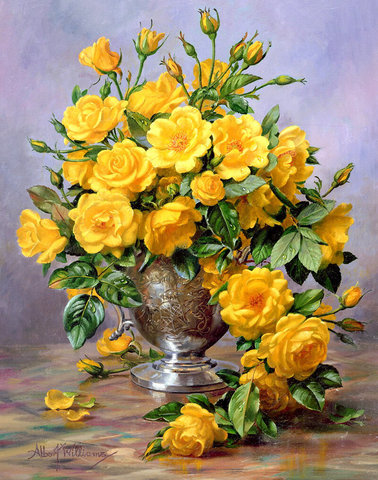 Алмазная Мозаика 20x30 Желтые розы в железной вазе