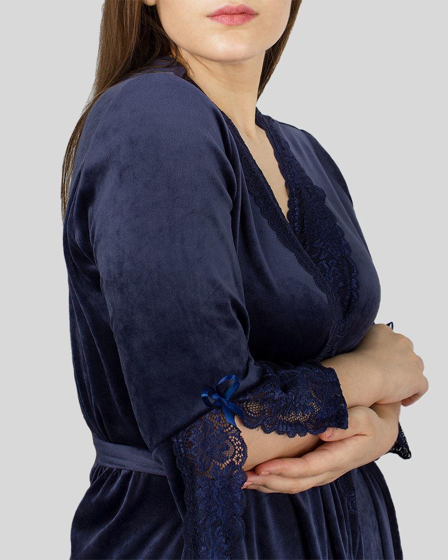 Халат женский на запах велюровый