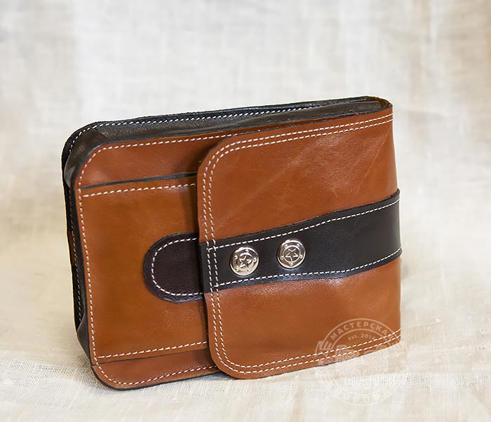 BAG379-2 Мужская кожаная сумка на пояс коричневого цвета, ручная работа фото 03