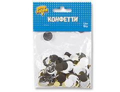 Конфетти Круги тишью/фольга, Золото/Черный, 1,5 см, 10 гр,1 уп.