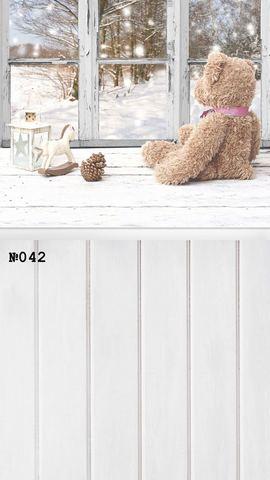 Фотофон виниловый стена-пол «Зимний мишка» №042