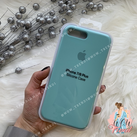 Чехол iPhone 7+/8+ Silicone Case /sea blue/ бирюза 1:1