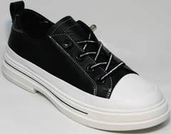 Модные летние туфли кроссовки для повседневной носки женские El Passo sy9002-2 Sport Black-White.
