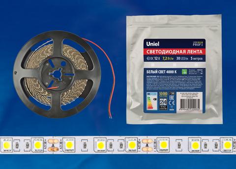 ULS-M22-5050-30LED/m-10mm-IP20-DC12V-7,2W/m-5M-4000K PROFI Гибкая светодиодная лента на самоклеящейся основе. Катушка 5м. в герметичной упаковке. Белый свет(4000К). ТМ Uniel.