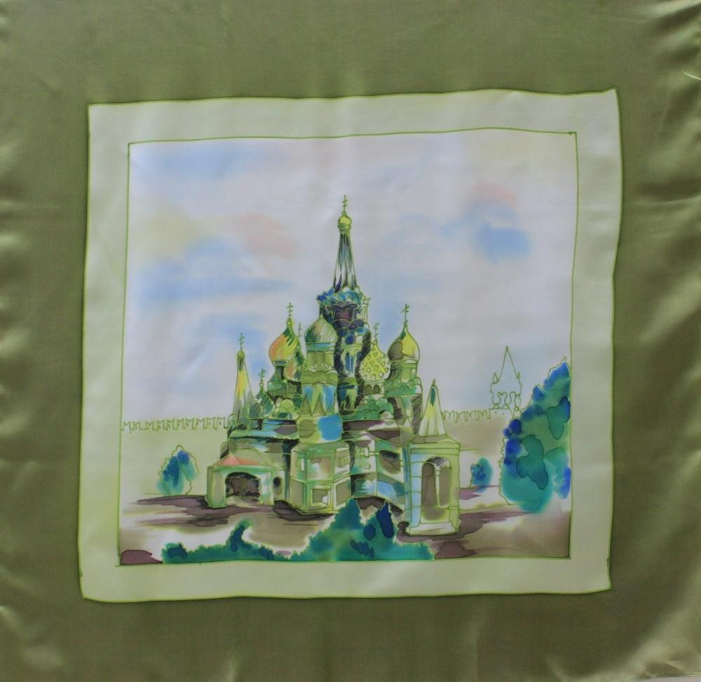 Платок Храм Василия Блаженного C-48/2 коралл