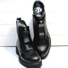 Черные осенние ботинки женские на низком каблуке Tina Shoes 292-01 Black.