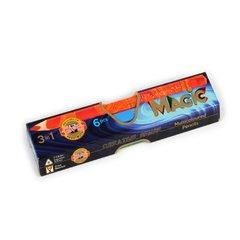 Набор 6 утолщенных многоцветных карандашей MAGIC в картонной коробке.