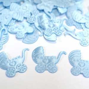 Конфетти атласное Коляска голубая 100шт
