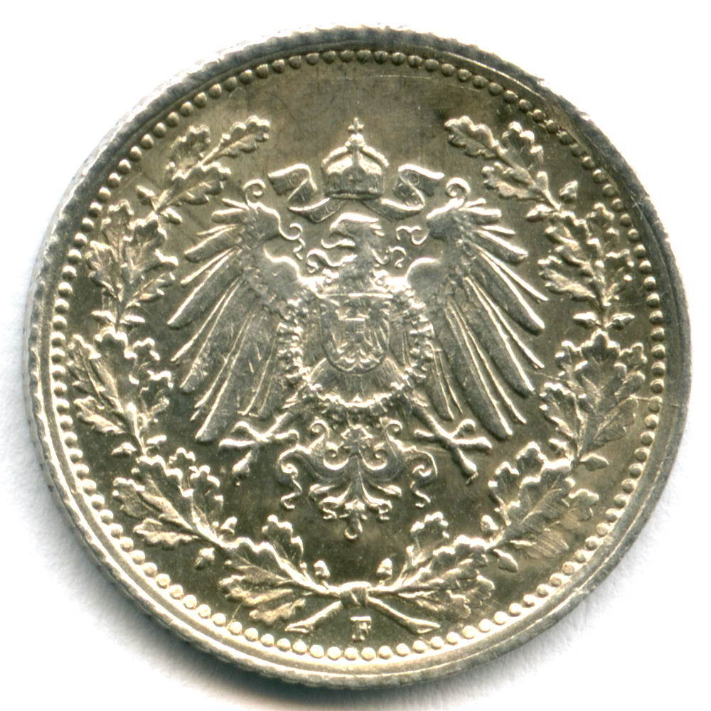 1/2 марки 1918 (F) Германия XF-AU