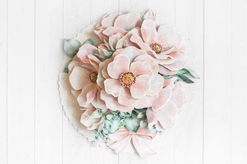 Папертоль Цветы на кружеве - готовая работа, фронтальный вид