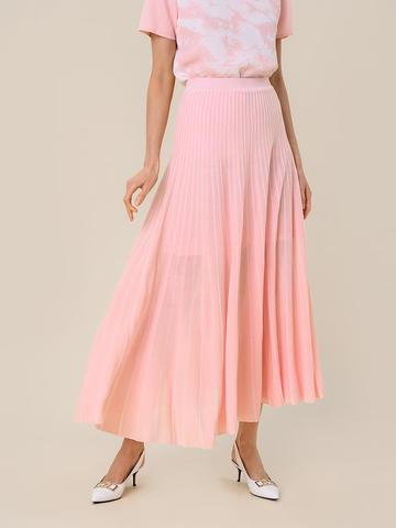 Женская юбка-плиссе розового цвета из вискозы - фото 2
