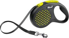 Поводок-рулетка Flexi Design S (до 15 кг) 5 м лента черная/желтый горох