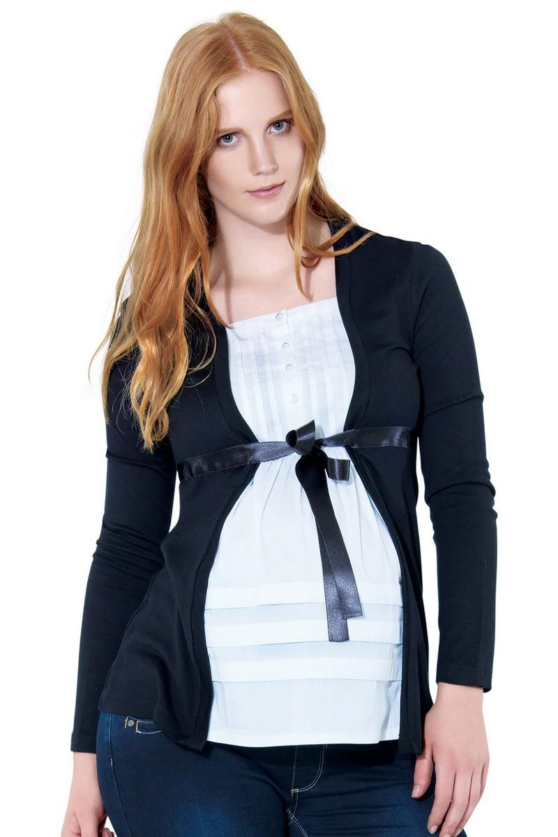 Джемпер-обманка для беременных 01037 черный