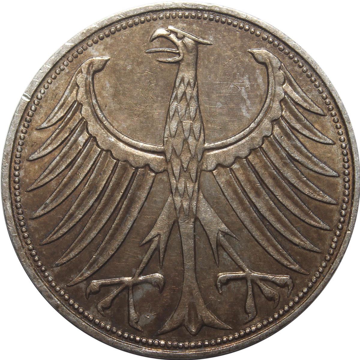 5 марок. Германия. (J). Серебро. 1965 год. XF