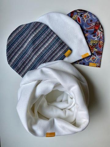 Комплект шерстяной бело-сиреневый с узором пейсли и с полоской