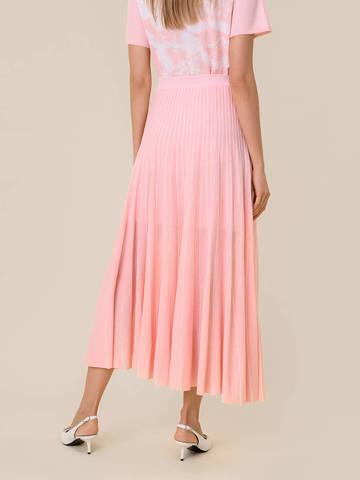 Женская юбка-плиссе розового цвета из вискозы - фото 4
