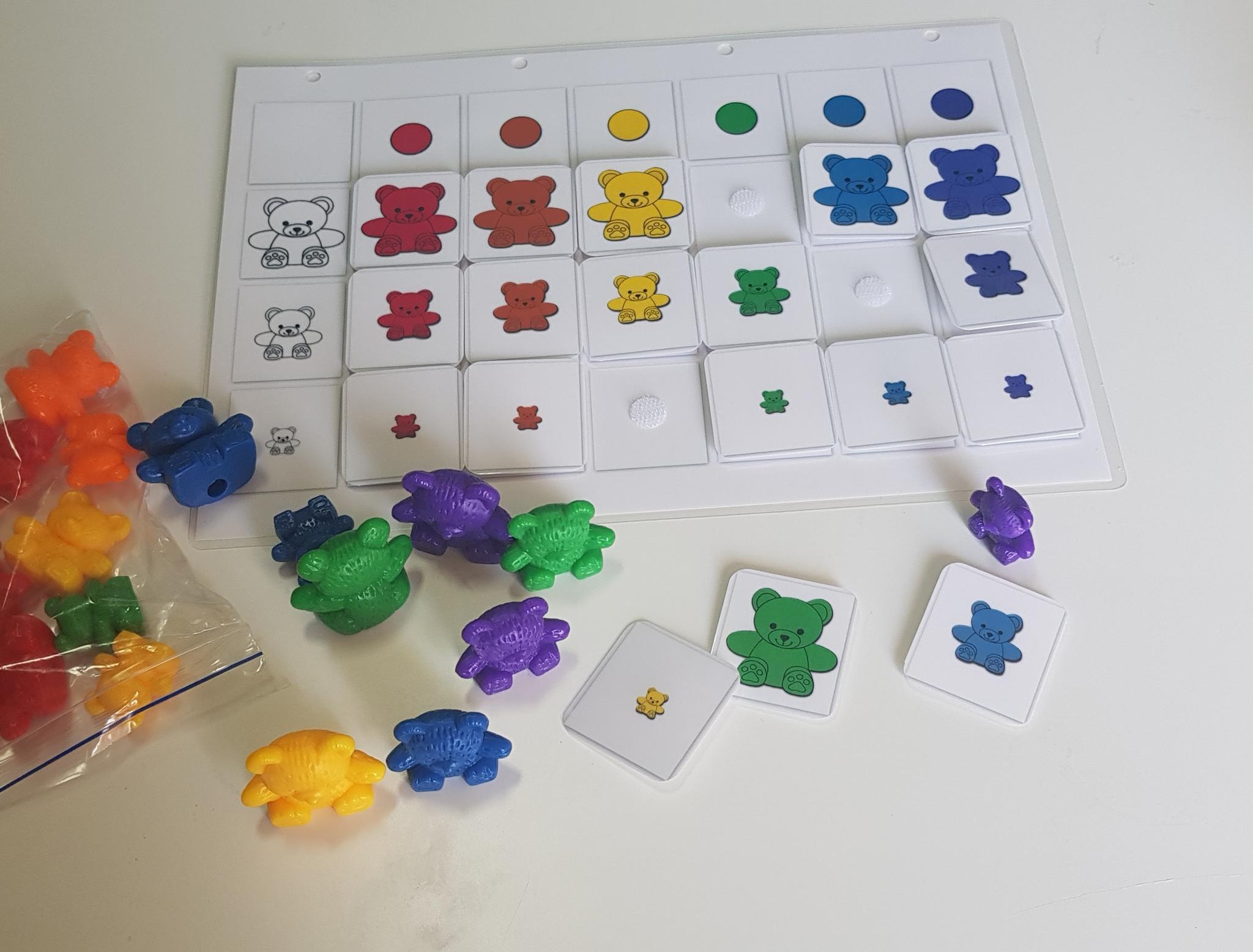 Сортировка мишек по цвету и размеру. Развивающие пособия на липучках Frenchoponcho (Френчопончо)