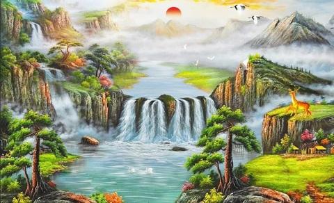 Алмазная Мозаика 40x50 Солнце поднимается над водопадом (арт. S2932)