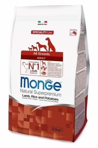 купить сухой корм Monge Speciality Line Adult All Breeds Lamb, Rice and Potatoes для взрослых собак всех пород с ягненком, рисом и картофелем