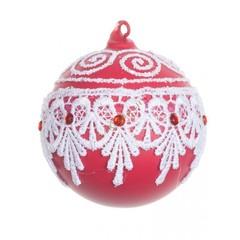 Красный шар с белым кружевом