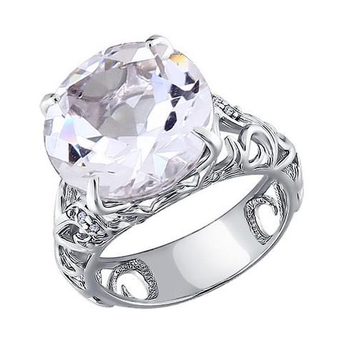 92010526 - Крупное кольцо с горным хрусталём из серебра