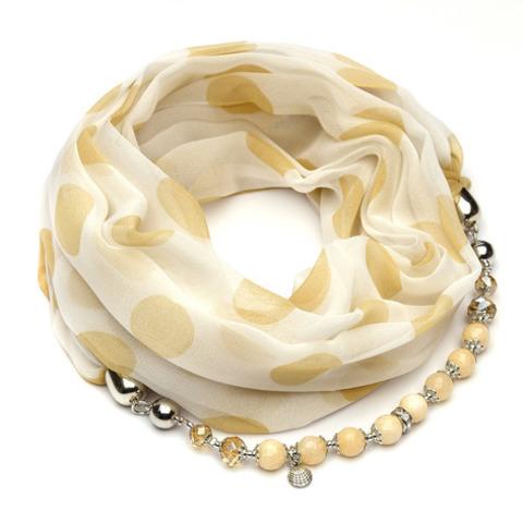 Шифоновый шарф с ожерельем