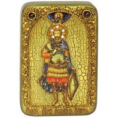 Инкрустированная Икона Святой мученик Иоанн Воин 15х10см на натуральном дереве, в подарочной коробке
