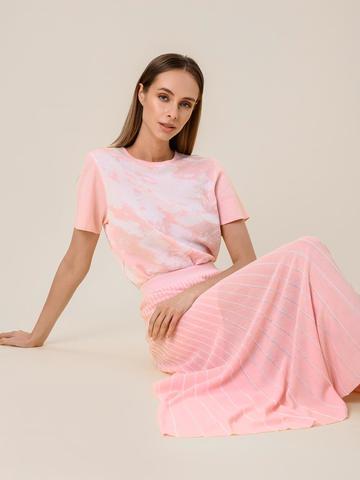 Женская юбка-плиссе розового цвета из вискозы - фото 3