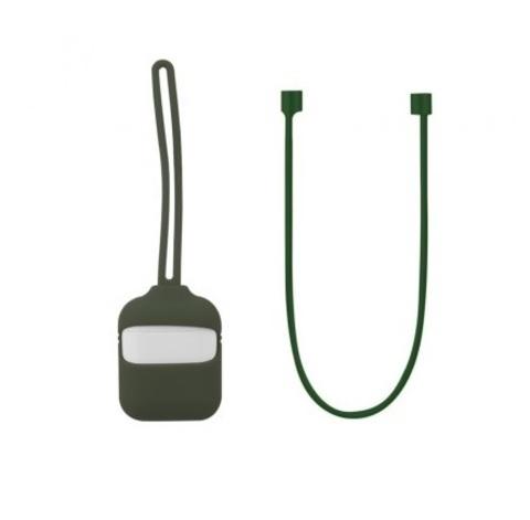 Кейс для Airpods 1/2 с шнурком | темно-зеленый