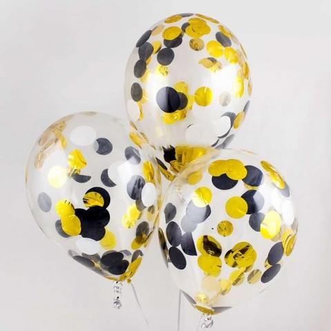 Воздушные шары с черно-золотым конфетти