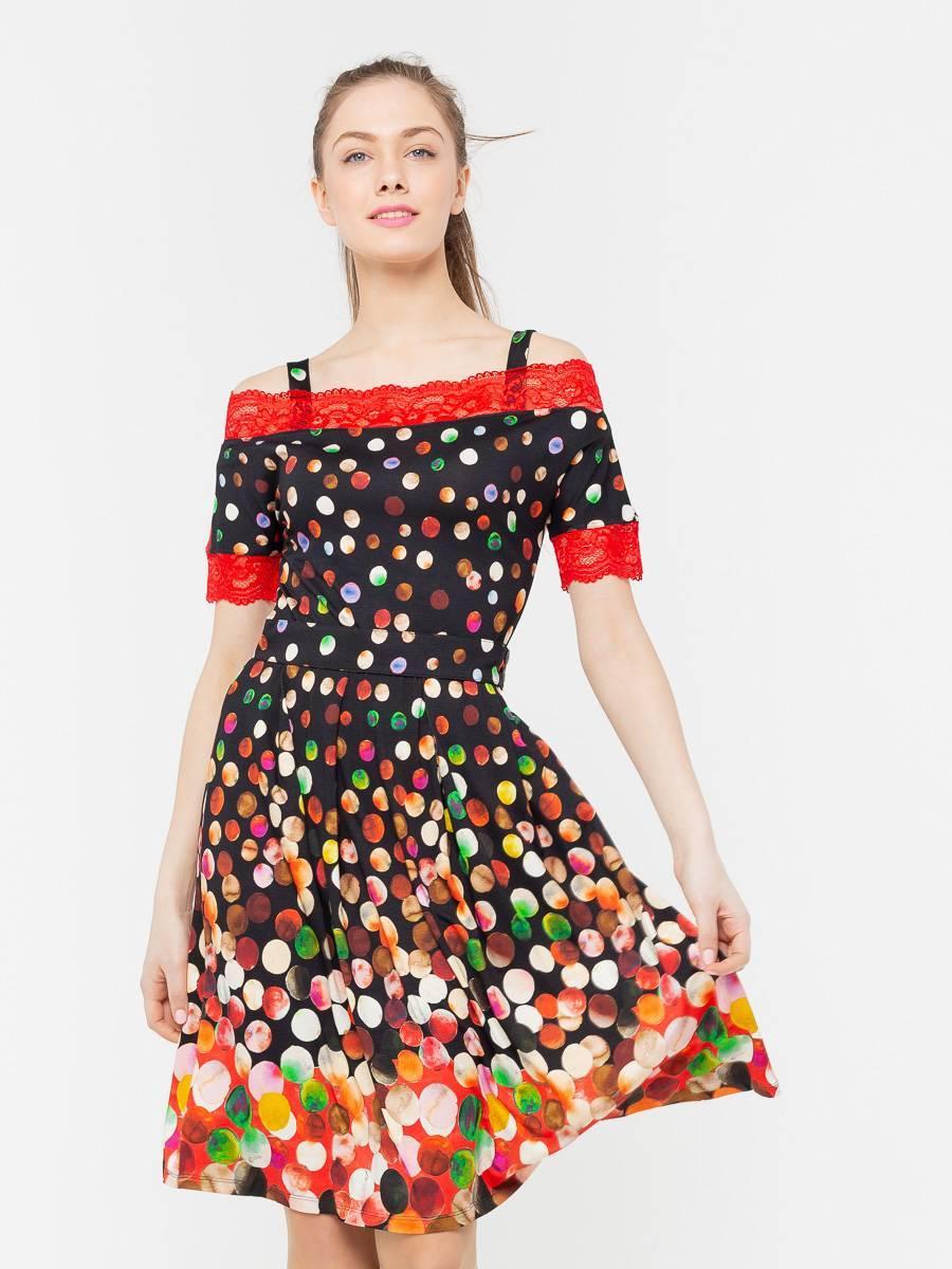 Платье З174-424 - Трикотажное платье приталенного силуэта с расклешенной юбкой. Края рукавов и горловины обработаны ярким кружевом в тон основного принта. В комплекте пояс из репсовой ленты в тон кружева. Платье невероятно комфортное и стильное, отлично подойдет на каждый день