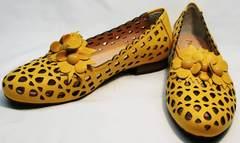 Элегантные туфли на низком каблуке босоножки закрытый носок и пятка Phany 103-28 Yellow.