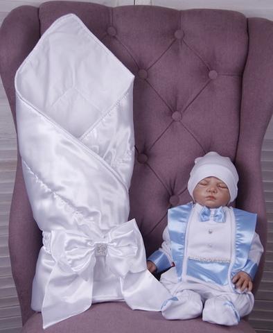 Летний комплект на выписку из роддома Ангел + Фрак (белый+голубой)
