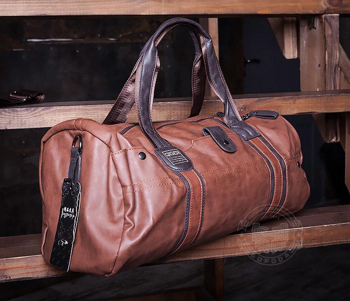BAG408-2 Мужская сумка коричневого цвета из искусственной кожи фото 02