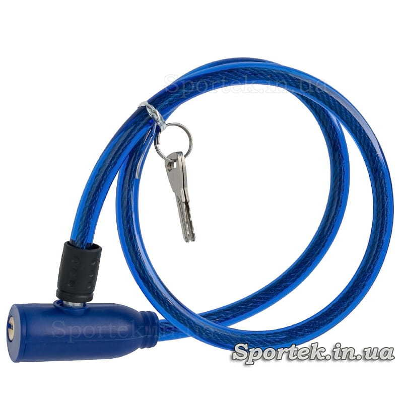 Велозамок с ключом на стальном тросе 5 х 700 мм с синим виниловым покрытием