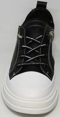 Летние женские туфли кроссовки черно белые El Passo sy9002-2 Sport Black-White.