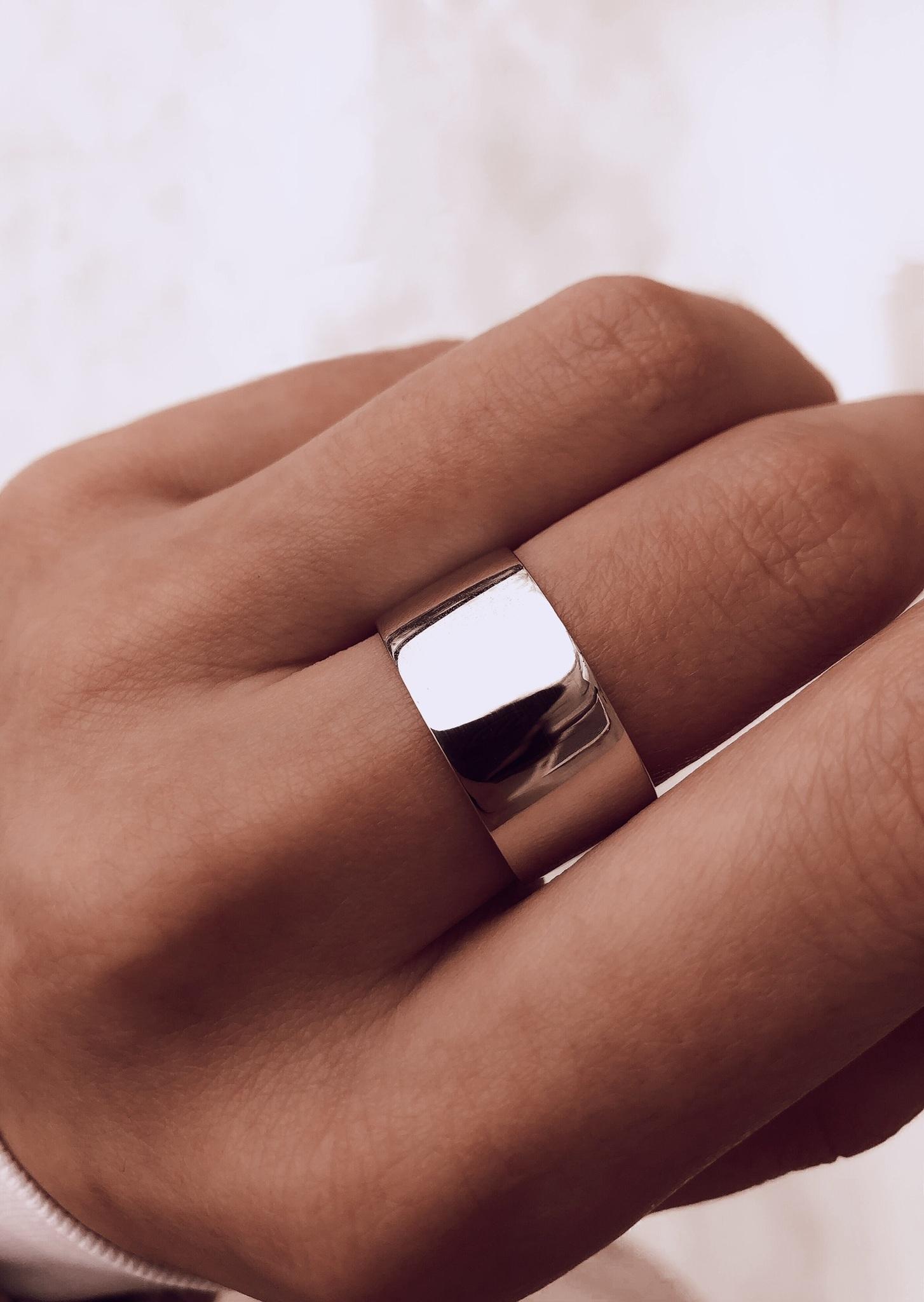 Серебряное широкое кольцо, 11 мм