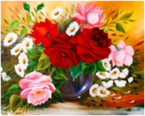 Картина раскраска по номерам 30x40 Цветы в прозрачной вазе