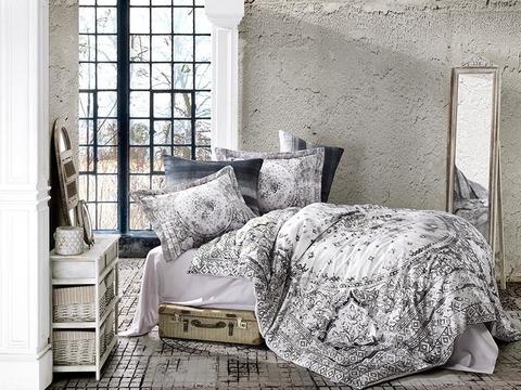 Комплект постельного белья DANTELA VITA Сатин Печатный 2 спальное (Евро) LINA цвет антрацит