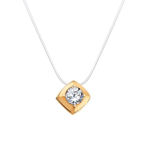 7142- Квадратик из золота с фианитом на леске-невидимке с замками из золота 585 пробы