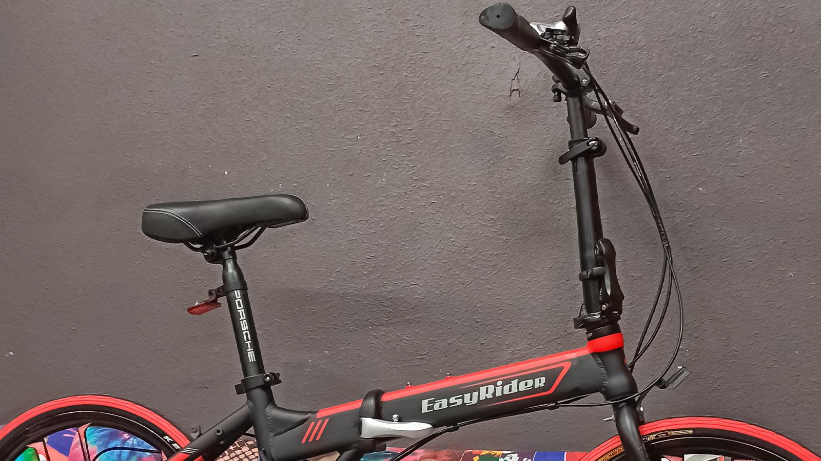 руль сидение складной городской велосипед  черно-красный