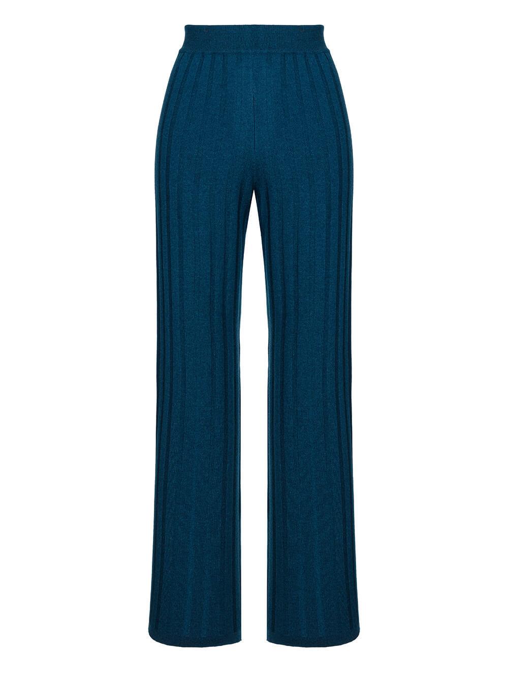 Женские брюки темно-изумрудного цвета из шерсти и шелка - фото 1