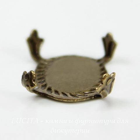 """Сеттинг - основа """"Черепашка"""" для камеи или кабошона 14х10 мм (оксид латуни)"""