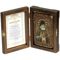 Инкрустированная Икона Святитель Лука Симферопольский, архиепископ Крымский 15х10см на натуральном дереве, в подарочной коробке