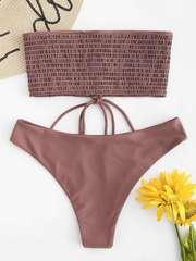 купальник бандо кофейный коричневый на шнуровке Rosy Finch 3
