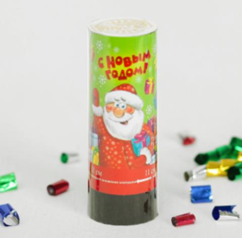 070-3254 Хлопушка пружинная «С Новым годом», 11 см, конфетти + фольга серпантин