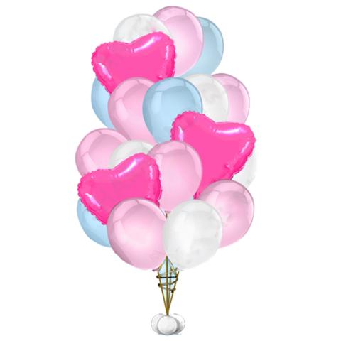 Букет воздушных шаров Нежный розово-голубой с яркими сердцами